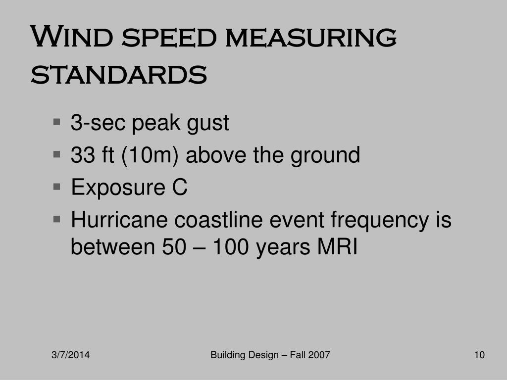 Wind speed measuring standards