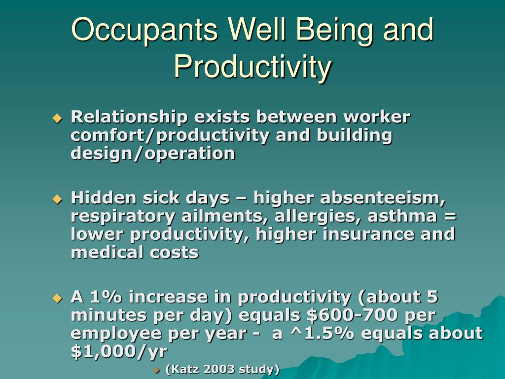 Occupants Well Being and Productivity