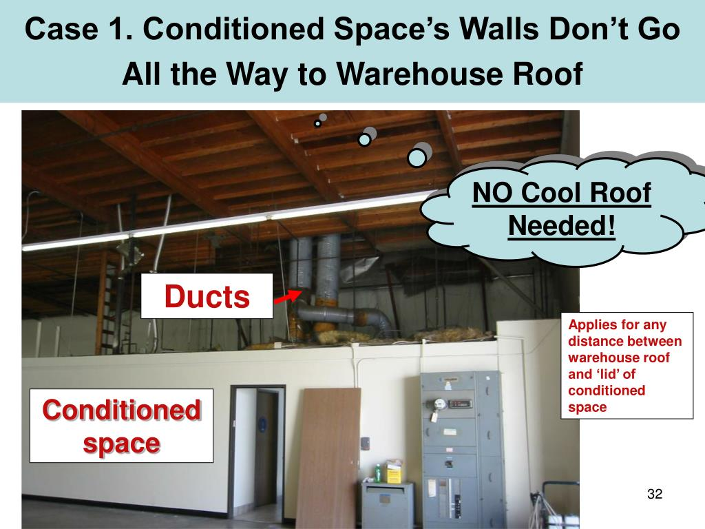 Case 1. Conditioned Space's Walls Don't Go All the Way to Warehouse Roof