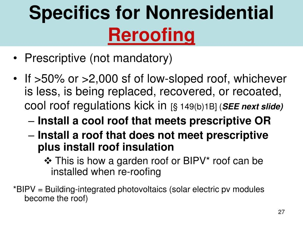 Specifics for Nonresidential