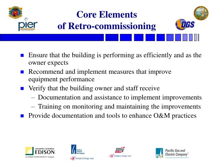 Core elements of retro commissioning