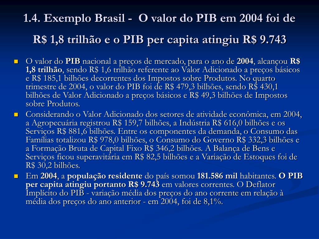 1.4. Exemplo Brasil -  O valor do PIB em 2004 foi de R$ 1,8 trilhão e o PIB per capita atingiu R$ 9.743