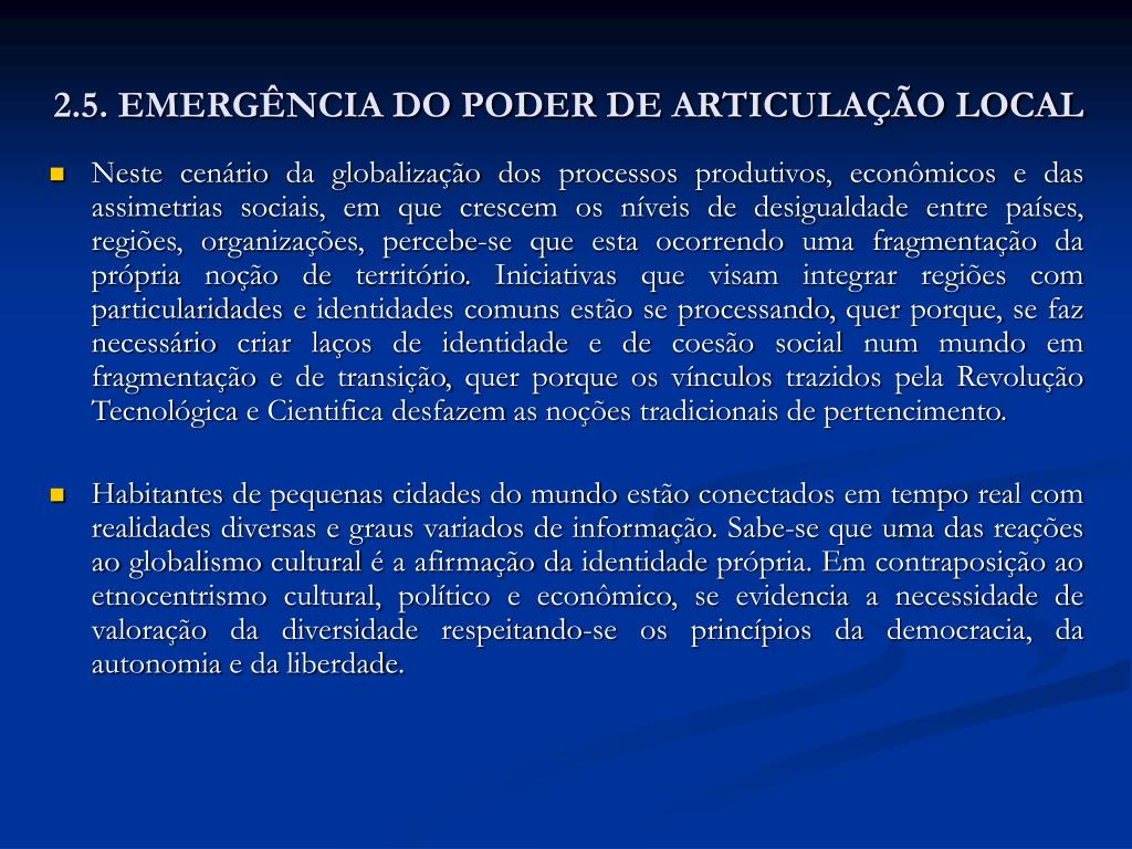 2.5. EMERGÊNCIA DO PODER DE ARTICULAÇÃO LOCAL
