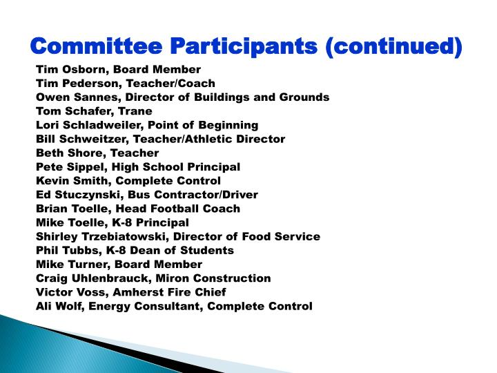 Committee Participants (continued)