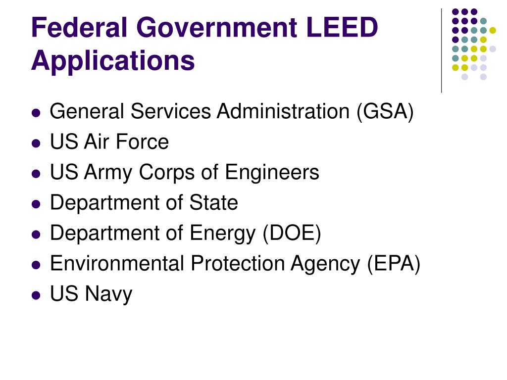 Federal Government LEED Applications