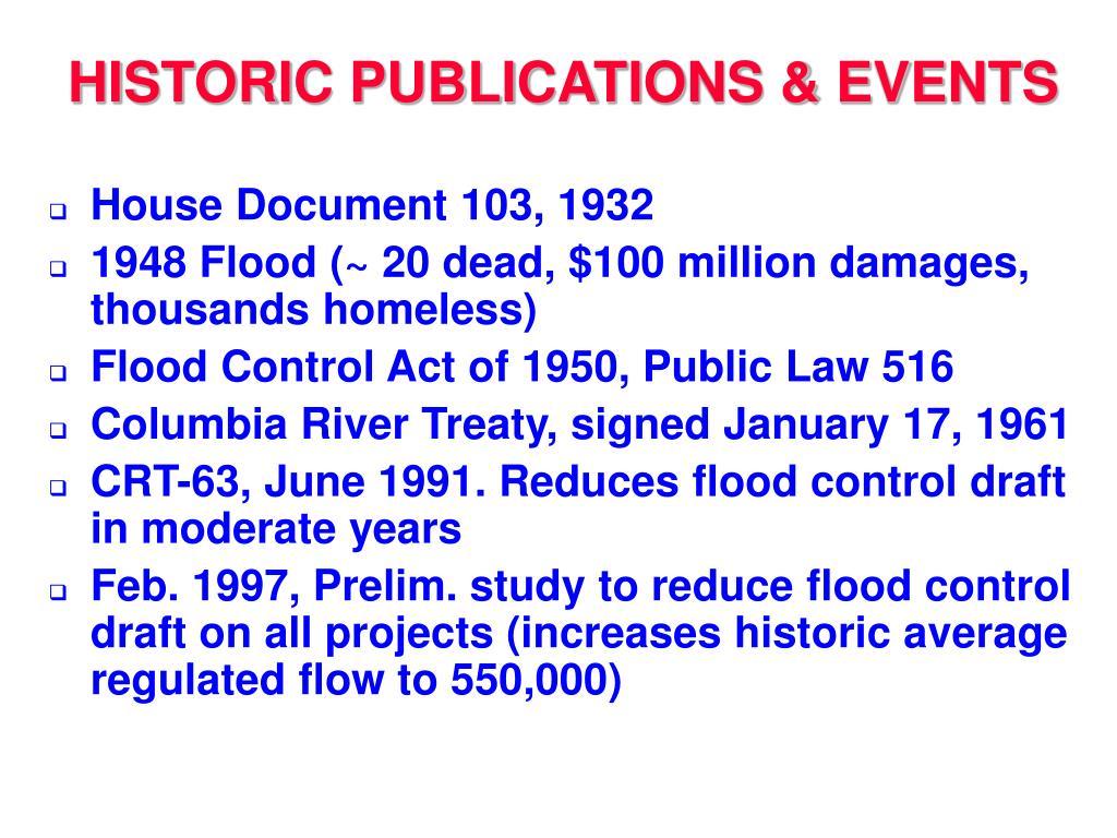 HISTORIC PUBLICATIONS & EVENTS