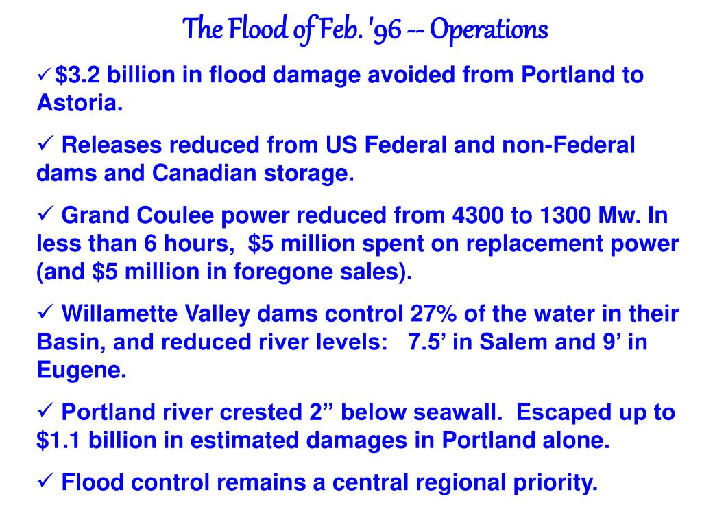 The Flood of Feb. '96 -- Operations