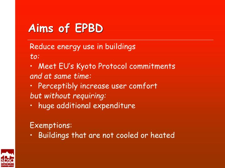 Aims of EPBD