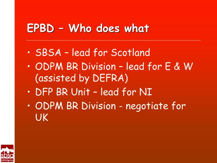 EPBD – Who does what