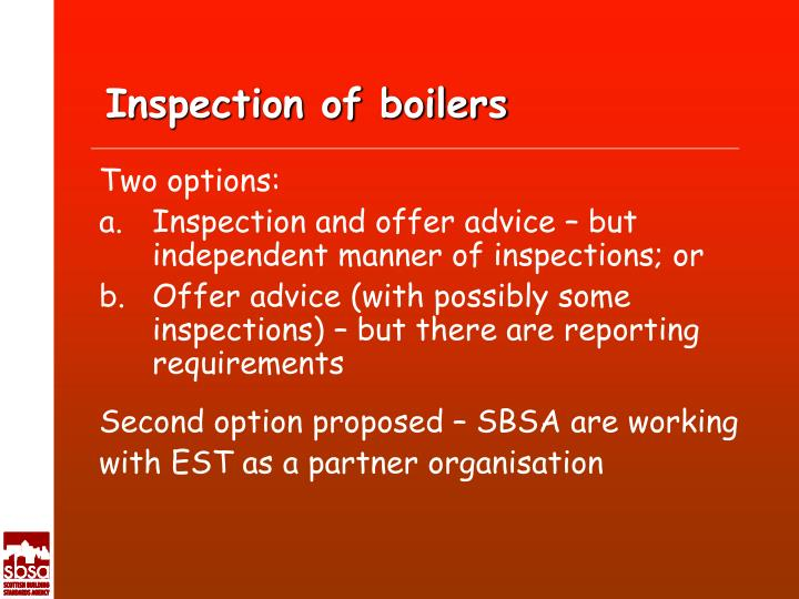 Inspection of boilers