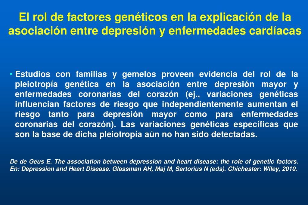 El rol de factores genéticos en la explicación de la asociación entre depresión y enfermedades cardíacas