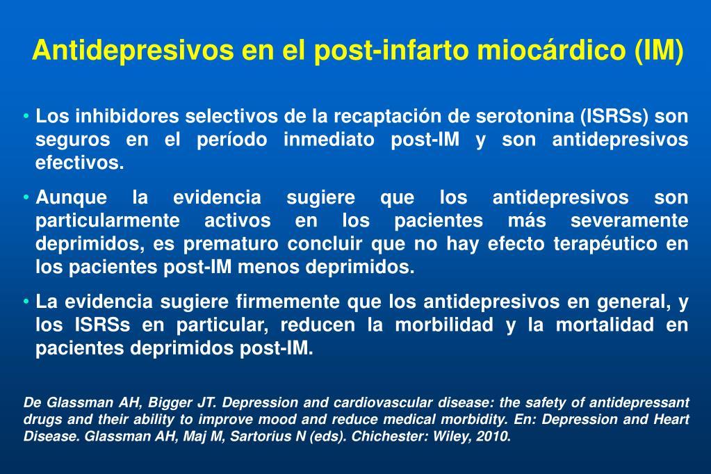 Antidepresivos en el post-infarto miocárdico (IM)