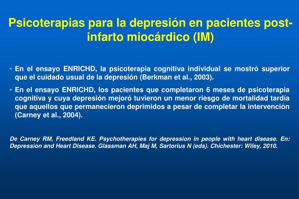 Psicoterapias para la depresión en pacientes post-infarto miocárdico (IM)
