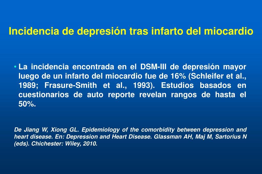Incidencia de depresión tras infarto del miocardio