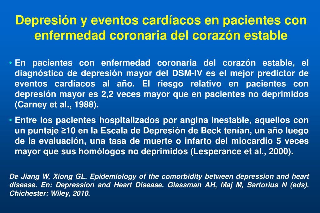 Depresión y eventos cardíacos en pacientes con enfermedad coronaria del corazón estable
