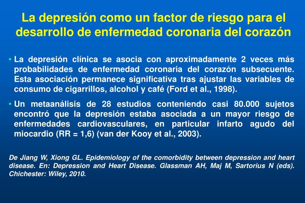 La depresión como un factor de riesgo para el desarrollo de enfermedad coronaria del corazón