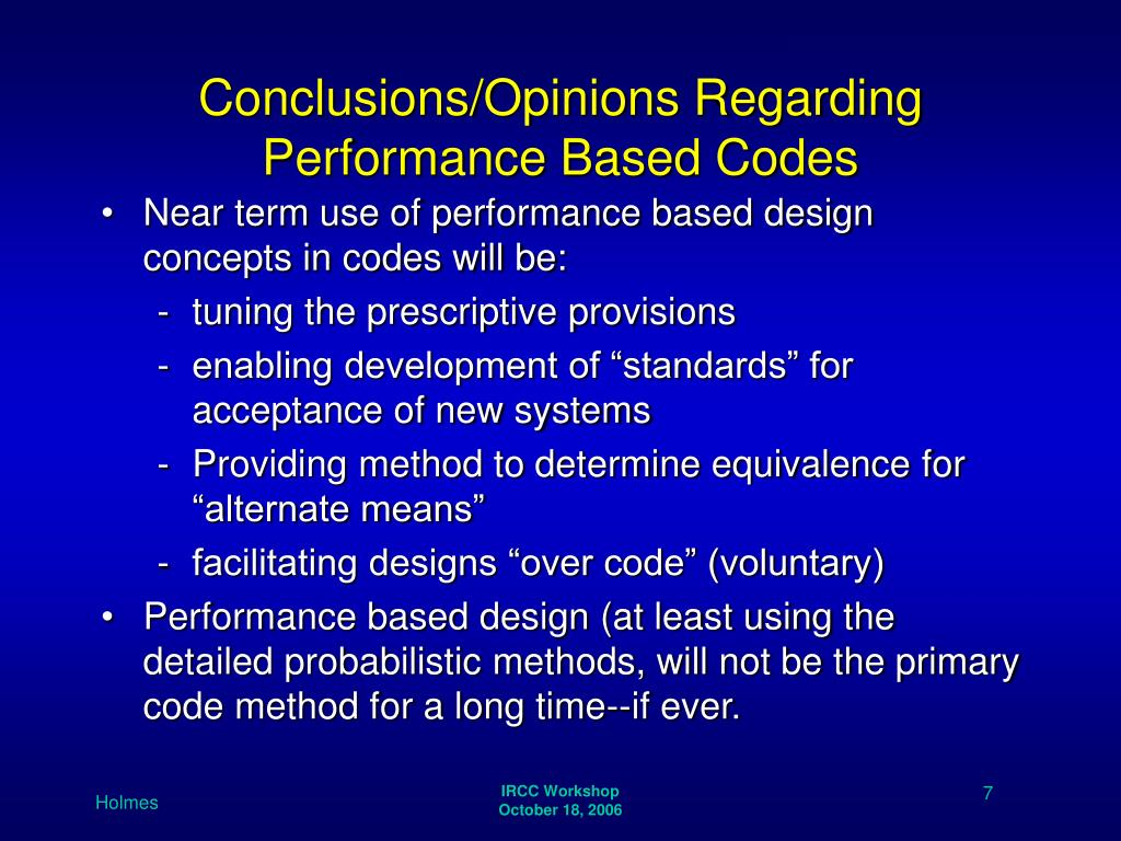Conclusions/Opinions Regarding Performance Based Codes