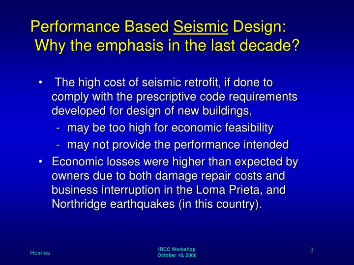 Performance based seismic design why the emphasis in the last decade l.jpg