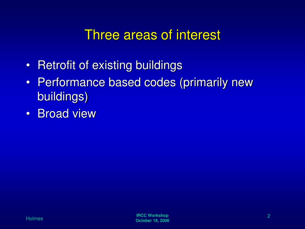 Three areas of interest