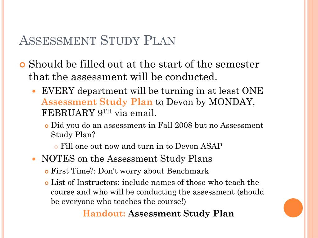 Assessment Study Plan