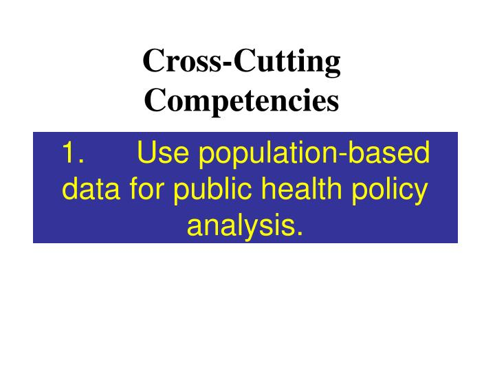 1.      Use population-based data for public health policy analysis.