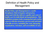 definition of health policy and management