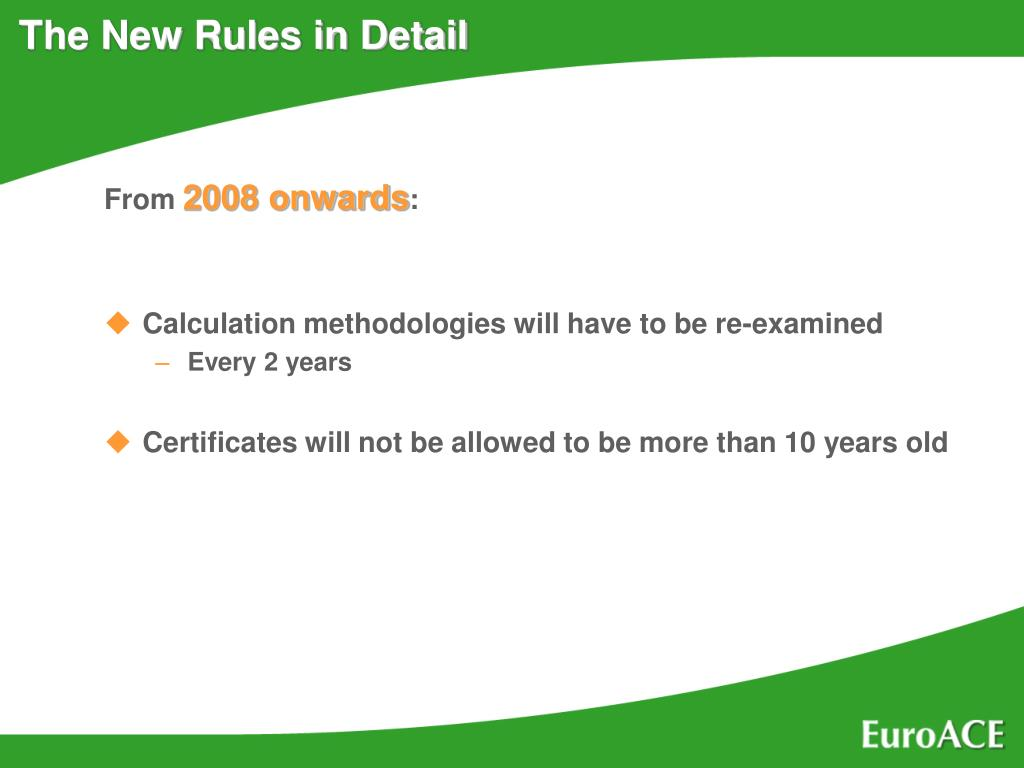 The New Rules in Detail