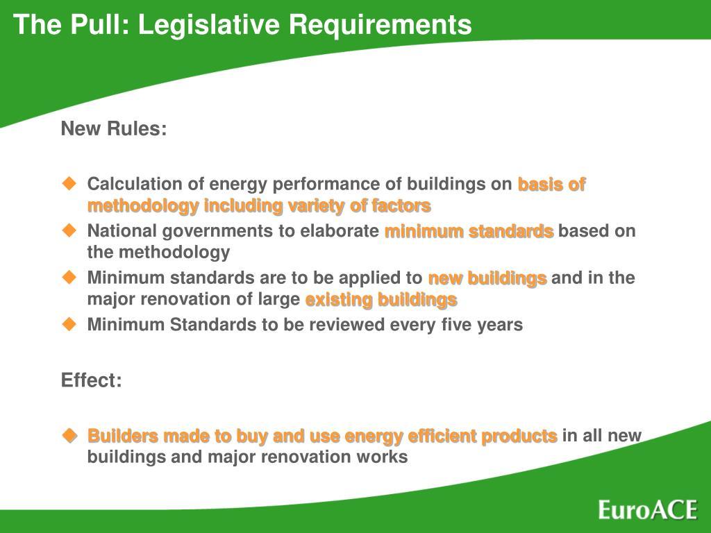 The Pull: Legislative Requirements