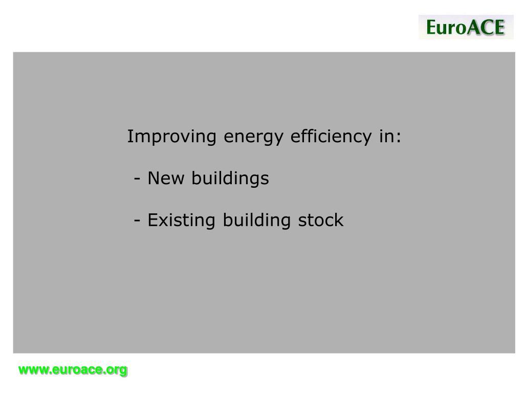 Improving energy efficiency in: