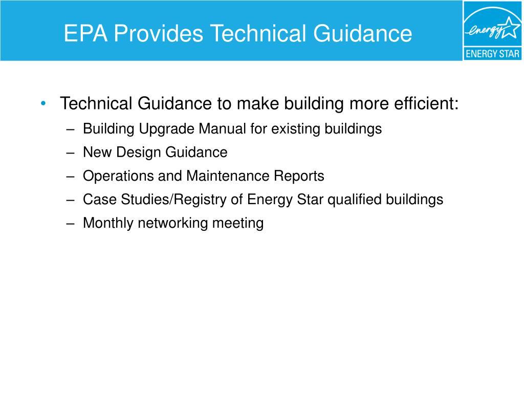 EPA Provides Technical Guidance