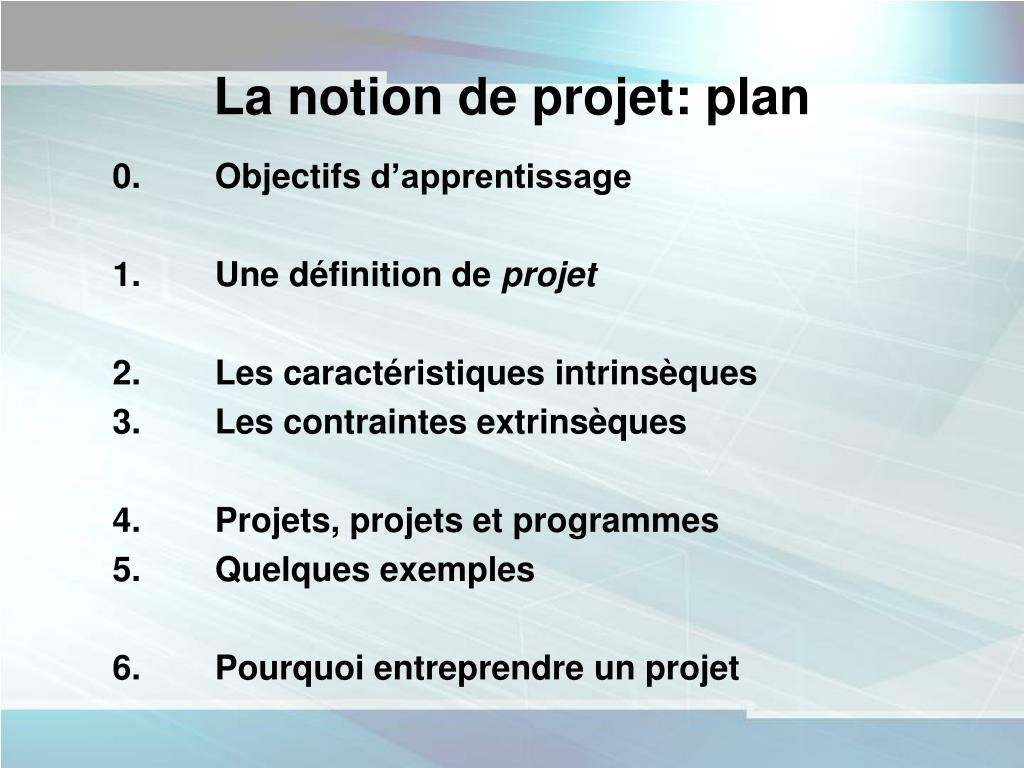 La notion de projet: plan
