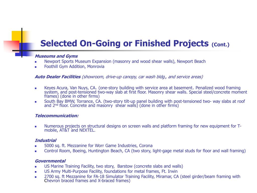 Selected On-Going or Finished Projects