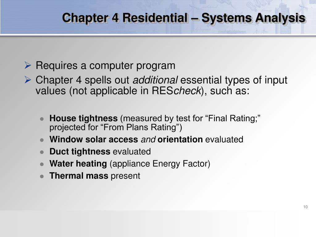 Chapter 4 Residential – Systems Analysis