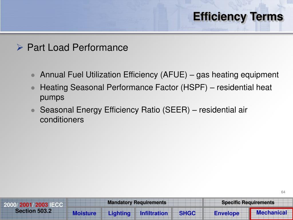 Efficiency Terms