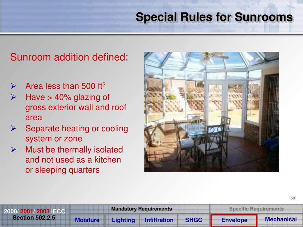 Special Rules for Sunrooms