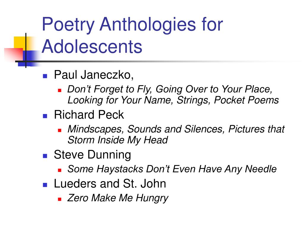 Poetry Anthologies for Adolescents