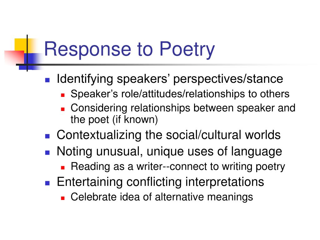 Response to Poetry