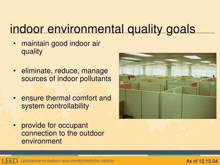 indoor environmental quality goals