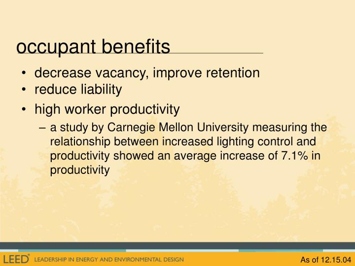 occupant benefits