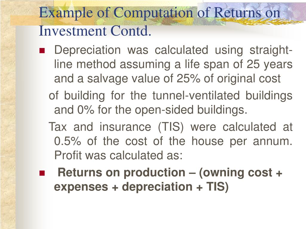Example of Computation of Returns on Investment Contd.