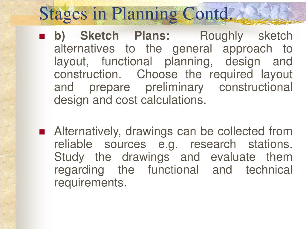 Stages in Planning Contd.