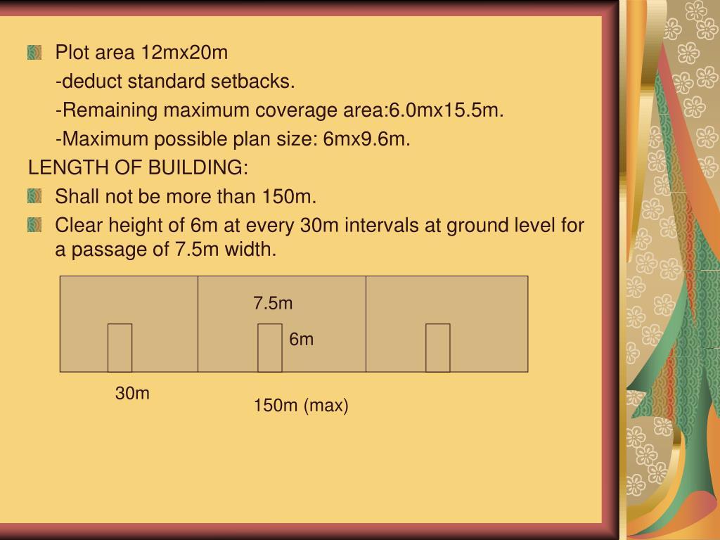 Plot area 12mx20m