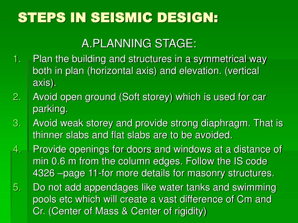STEPS IN SEISMIC DESIGN: