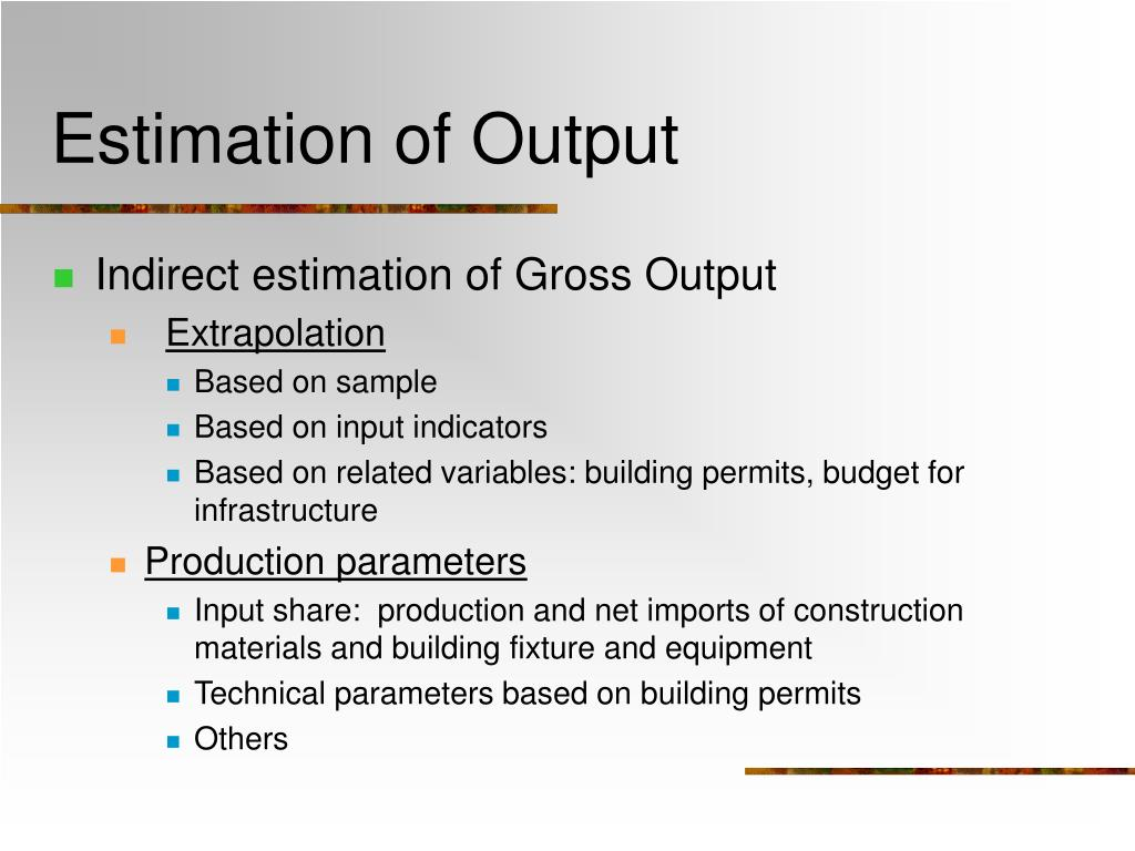 Estimation of Output
