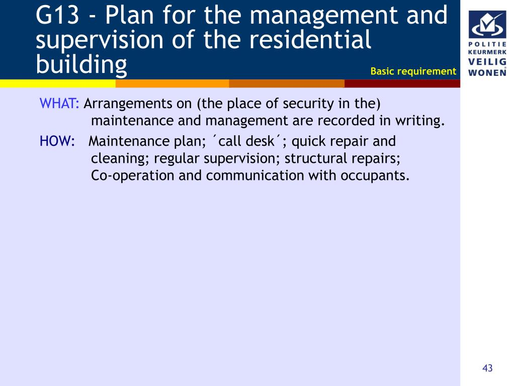 G13 - Plan for the management and supervision of the residential building
