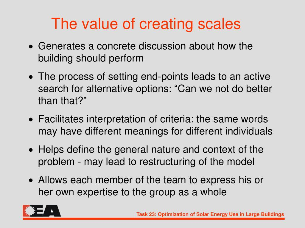 The value of creating scales
