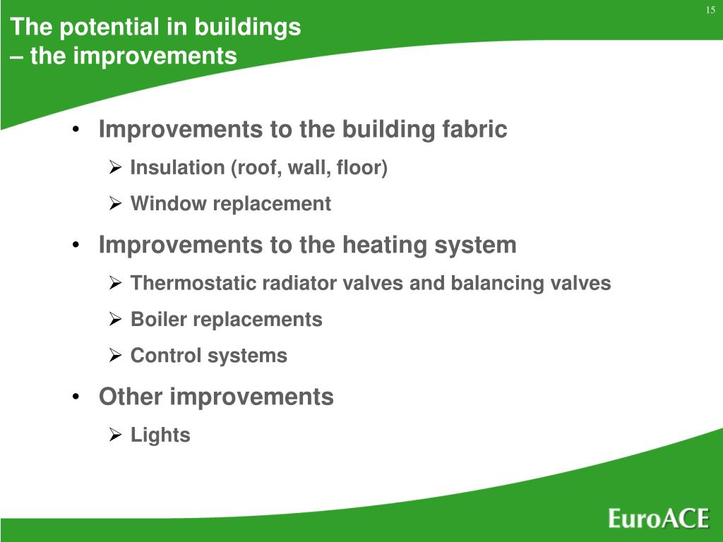 The potential in buildings