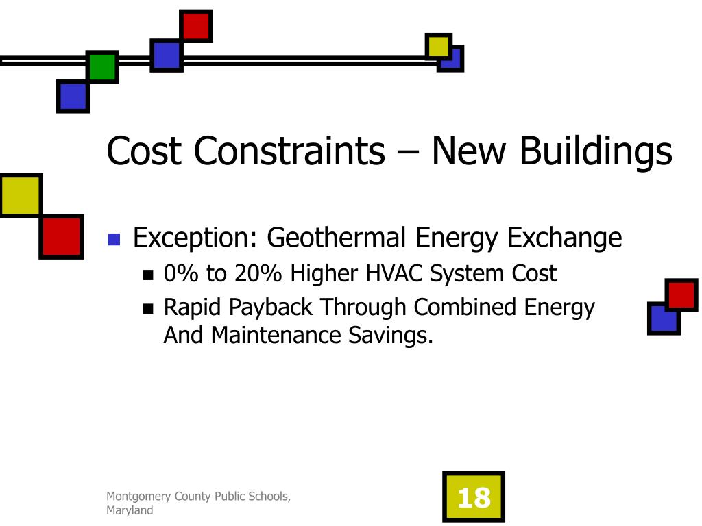 Cost Constraints – New Buildings