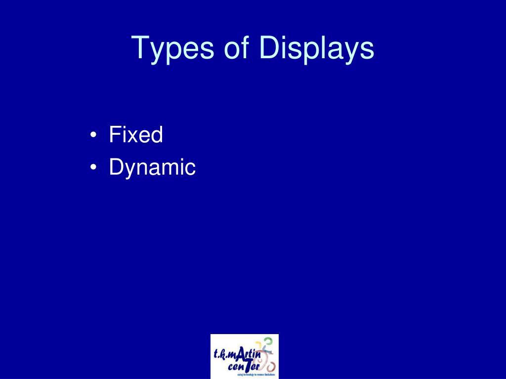 Types of Displays
