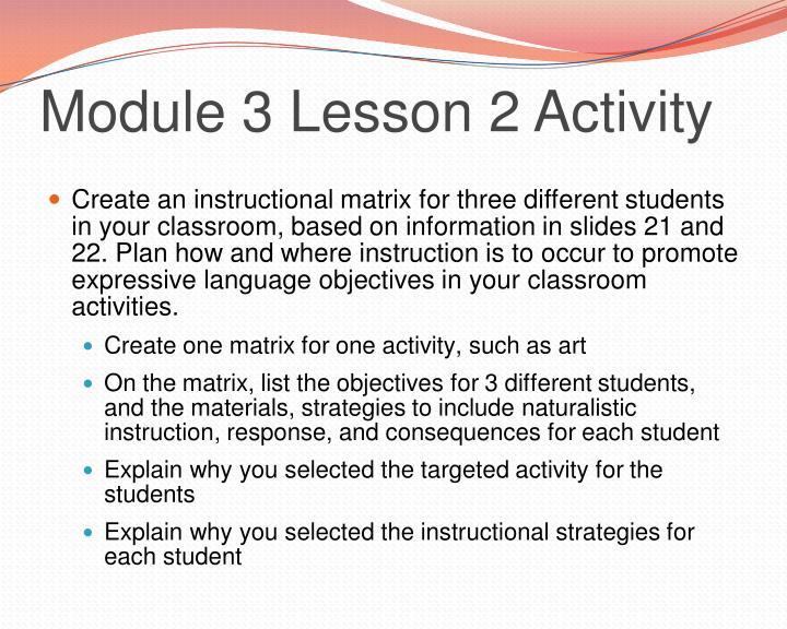 Module 3 Lesson 2 Activity